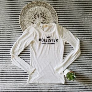 Hollister White Navy Embroidered Long Sleeve Top S